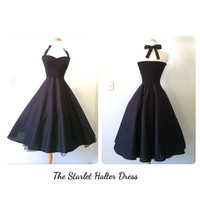 The Starlet Halter Dress in BLACK Dahlia, Rockabilly Pin Up Noir Tea Length Party Special Occasion Wedding Bridesmaid