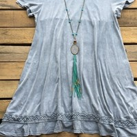 tshirt dress with washed out effect and embroidery detail