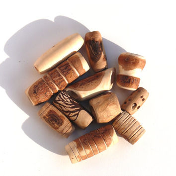 Wood dread beads set: 4 unique beads for dreads, handmade hippie natural wooden beads in different sizes and styles