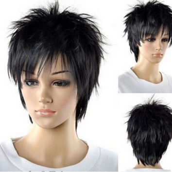 Handsome Natural Black Bangs Men Cosplay Fancy Long Straight Oblique Black Men Synthesis Hair Full Wig Free Cap W2088