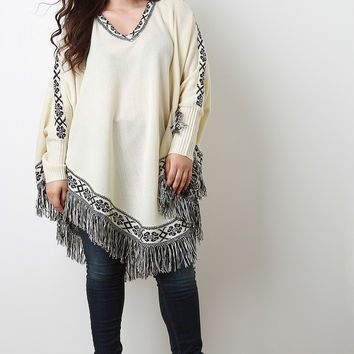 Abstract Print Fringe Trim Long Sleeves Poncho