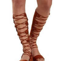 Cognac Lace-Up Tall Gladiator Sandals by Charlotte Russe