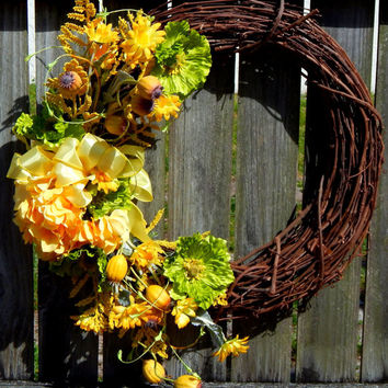 Hydrangea Spring Wreath, Spring Decor, Spring Door Wreath, Front Door Wreath, Silk Floral Wreath, Outdoor Wreath, Grapevine, Etsy
