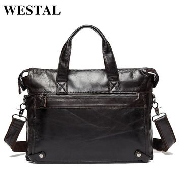 WESTAL Genuine Leather bag Business Men bags Laptop Tote Briefcases Crossbody bags Shoulder Handbag Men's Messenger Bag 9103
