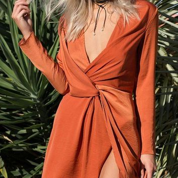 Orange Plunge Knot Front Long Sleeve Mini Dress