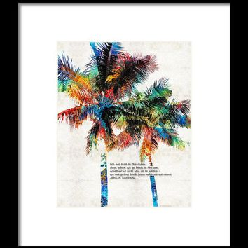 Colorful Palm Trees - Returning Home - By Sharon Cummings Framed Print