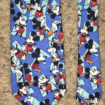 Sale!! Vintage MICKEY MOUSE silk tie Retro DISNEY men's necktie Made in Japan