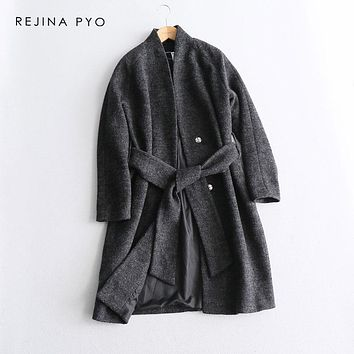 REJINAPYO Women Grey Elegant Long A-line Trench Coat Covered Buttons Sashes Casual Drop Shoulder Long Outerwear Plus Size
