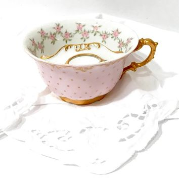 Antique Limoges Tea Cup  Mustache Cup  Charles Ahrenfeldt  Pink Green Floral  Hand Painted Gold Pin Dot Heavy Fancy Gold Trim Vintage 1900