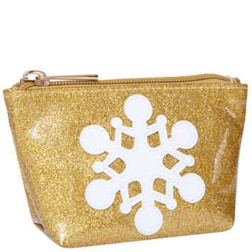 GOLD GLITTER MINI AVERY CASE WITH SNOWFLAKE