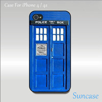 TARDIS Doctor Who iPhone 4 case, iPhone 4S case, iPhone cover, iPhone hard case in white or black