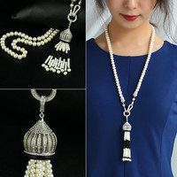 Jewelry New Arrival Shiny Gift Stylish Pearls 925 Silver Tassels Sweater Chain Necklace [4914842884]