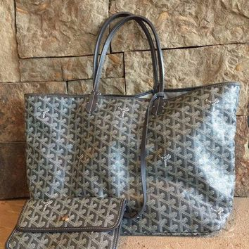 CREYWA2 St Louis Goyard Grey GM Chevron Tote Bag