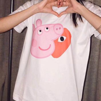 "Hot Sale ""Comme Des Garçon Play"" Trending Gucci Peppa Pig  Women Men Summer Spoof Print Short Sleeve Round Collar Couple Cotton T-Shirt Pullover Top I-JZP-36"