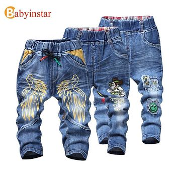 Babyinstar Kids Boys Jeans Trousers 2017 Cartoon wing Pattern Casual Spring Autumn Jeans for Kids Girl's Denim Pants