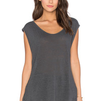 Velvet by Graham & Spencer Cortina Linen Slit Scoop Neck Tank in Graphite