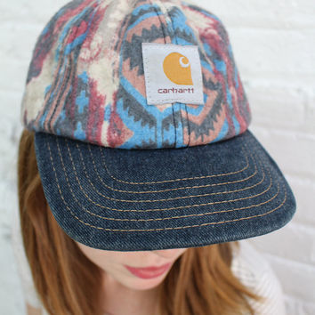 vintage Carhartt hat / flannel baseball hat with aztec print / denim brim / workwear