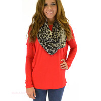 Galloway Red Piko Long Sleeve Top