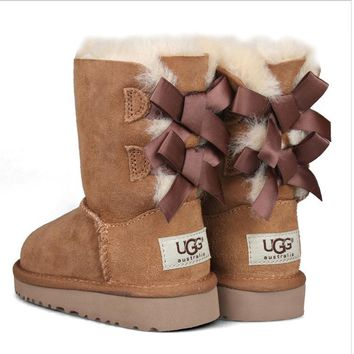 UGG:: bow leather boots boots in tubeb cute two bowknot Chestnut-2