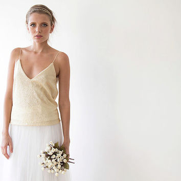 Sequin top , Cream color top, Sparkly bridal top, Spaghetti straps, Open back Cami top