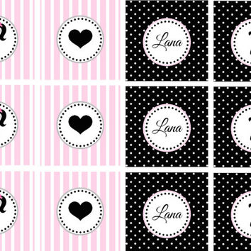 Personalized Glamour Girl Birthday Party Printable Cupcake Toppers