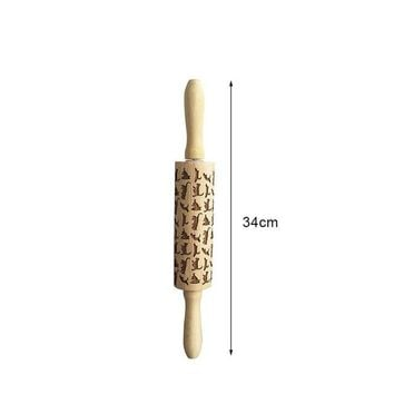 Engraved Rolling Pin Laser Engraved Cats Pattern
