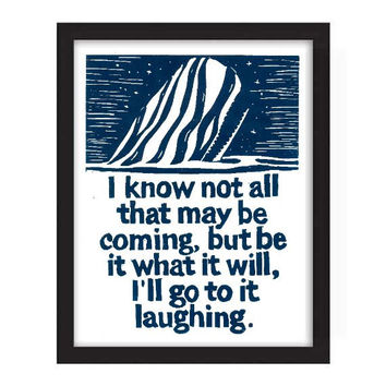POSTER - 11x14 - Herman Melville - I know not all that may be coming, but be it what it will, I'll go to it laughing. Navy