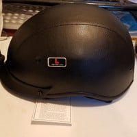 Outlaw T-72 Black Leather Motorcycle Visor Half Helmet size L new