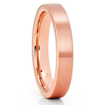 4mm - Rose Gold Tungsten Ring - Tungsten Wedding Band - Rose Gold Ring