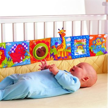Baby Toys Crib Bumper Baby Cloth Book Baby Rattles Knowledge Around Multi-Touch Colorful Bed Bumper For Kids Gift Toys