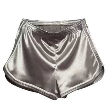 Gray Holographic Contrast Trims Sports Shorts
