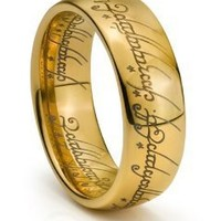8MM Tungsten Mens Gold Lord LOTR Style Laser Engraved Band One Ring (10)