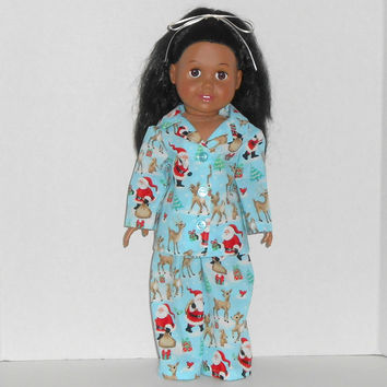 American Girl Doll Clothes Aqua Christmas Pajamas with Santa and Deer fits 18 inch dolls