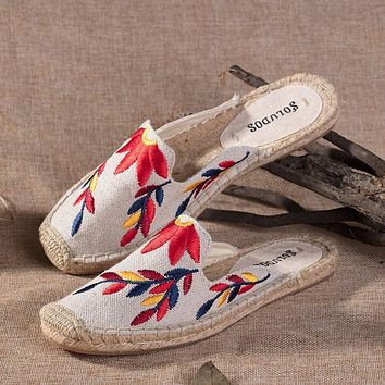 Soludos Multi Embroidered Floral Flame Embroidery Slipper Mule Beige