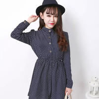 Printed Long Sleeve Shirtwaist A-Line Pleated Mini Dress