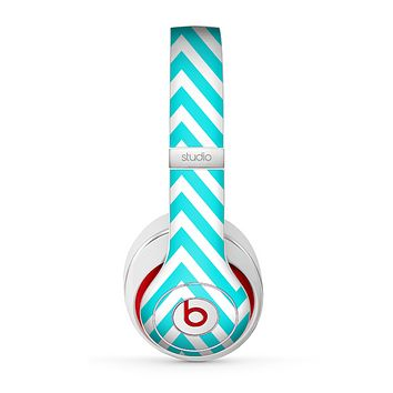 The Trendy Blue Sharp Chevron Pattern Skin for the Beats by Dre Studio (2013+ Version) Headphones