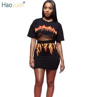 HAOYUAN 2 Piece Set Women Fire Flame Print Back See Through Sexy Mesh Crop Top And Mini Bodycon Skirt Outfit Suits Two Piece Set