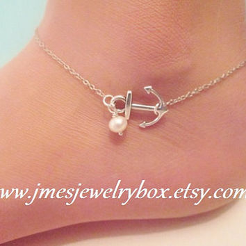 Silver anchor ankle bracelet with freshwater pearl