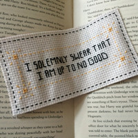 HARRY POTTER Handmade Embroidery Bookmark ' I Solemnly Swear That I Am Up To No Good