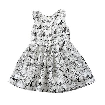Pro Baby Girl Sleeveless Cartoon Dress Infant White Bunny Rabbit Print Ball Gown Tutu Dress Casual Kids Easter Clothes M2