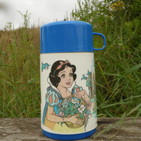 FREE SHIPPING - Snow White Thermos/Vintage Snow White/Vintage Thermos/Disney Princess/Plastic Thermos/Aladdin Thermos/Vintage Lunch Box