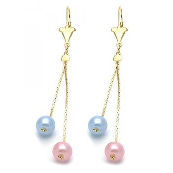 Gold Layered 066.002 Long Earring, Ball Design, with  Pearl, Gold Tone