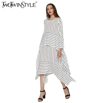 TWOTWINSTYLE 2017 Women Striped Lace up Midi Dresses Long Sleeve Flare Asymmetrical Vintage Female Tunic Clothes Korean Big Size