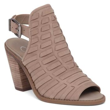 Jessica Simpson Shoes Celinna Peep Toe Booties with Open Back in Warm Taupe JS-CELINNA-WMTAUPE