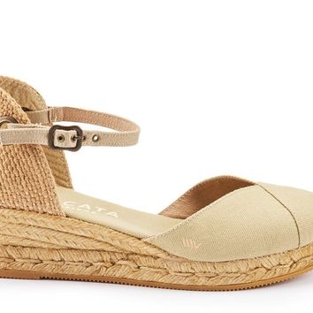 Pubol Canvas Espadrille Wedges - Beige