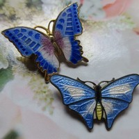 Vintage Enameled Butterfly Pins