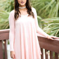 Follow Your Heart Peach Long Sleeve Dress
