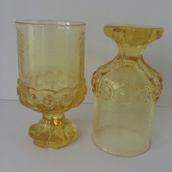 Tiffin Madeira glass, Cornsilk Yellow, Footed Tumblers, 70's Franciscan, Mediterranean Style, Set of Two, Medium Sized, Elegant Glassware,