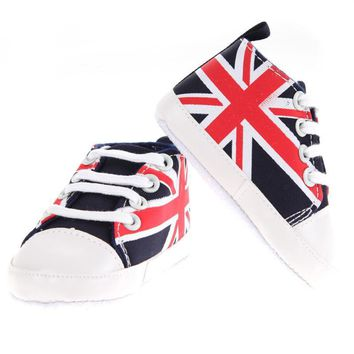 Toddler UK Flag Sneakers Baby Shoes Winter Kids Classic Soft Bottom Anti-slip T-tied S