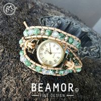 Tree Agate triple leather wrap watch